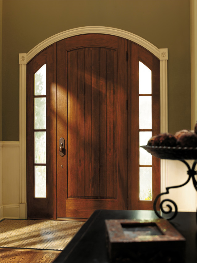 Andersen Archtop Wood Entrance Door with Sidelites and Horizontal Grids - Entrance