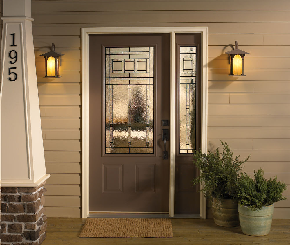 Craftsman Steel Door with Decorative Glass and Sidelite - Entrance