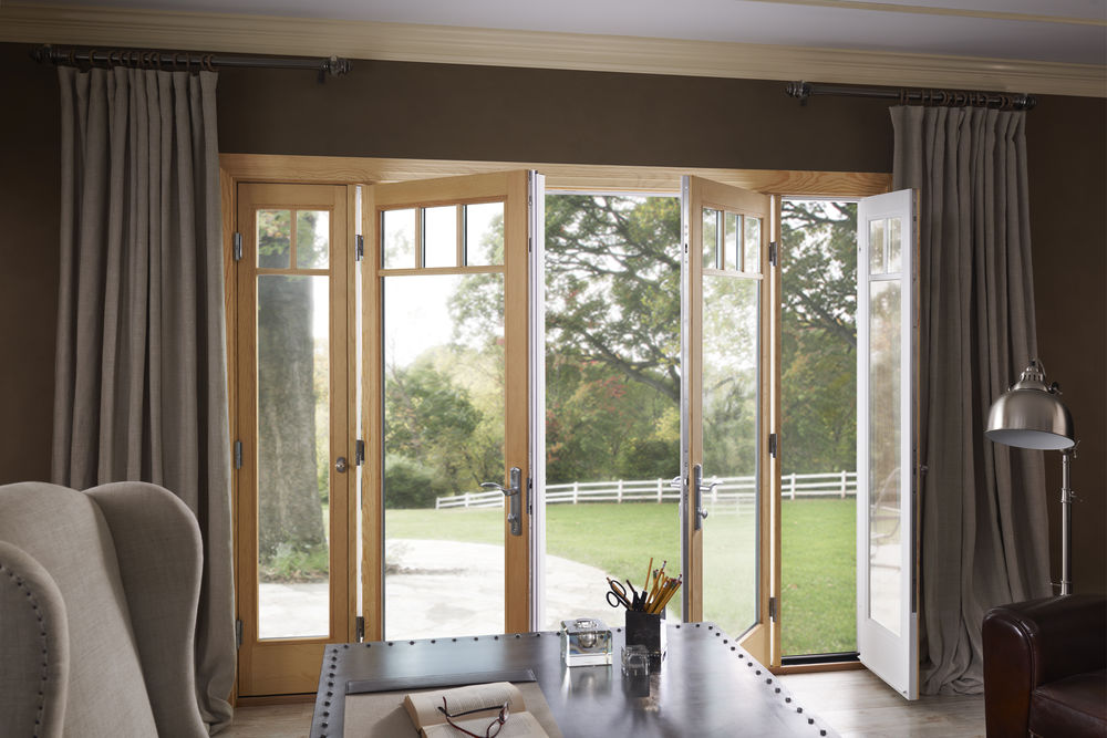 Essence Fiberglass and Wood Hinged Door with vented Sidelights - Patio
