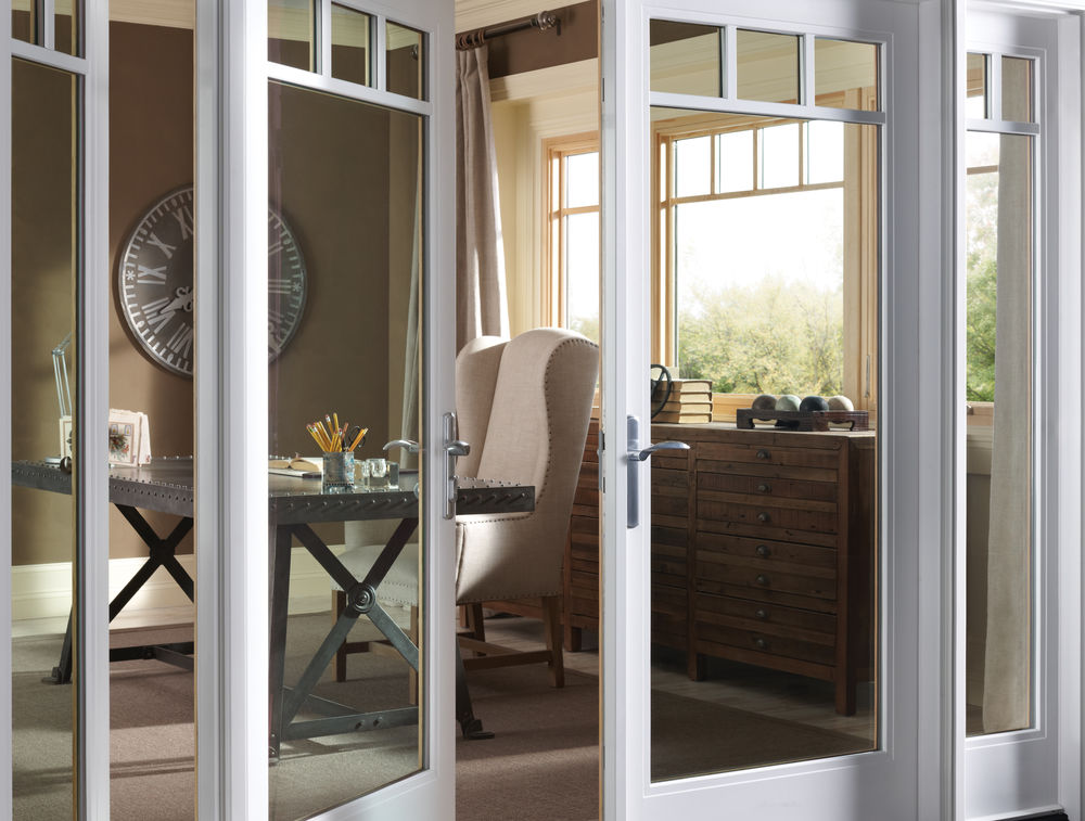 Milgard Essece Fiberglass and Wood White French Patio Doors - Patio