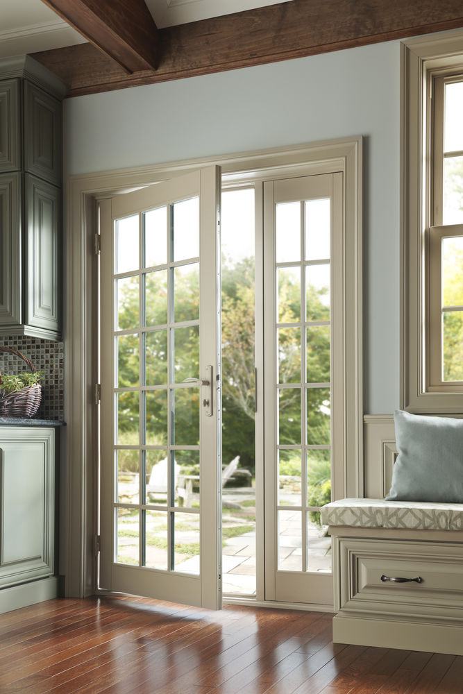 Milgard Tuscany Vinyl Inswing Door with Sidelites and SDL Grids - Patio