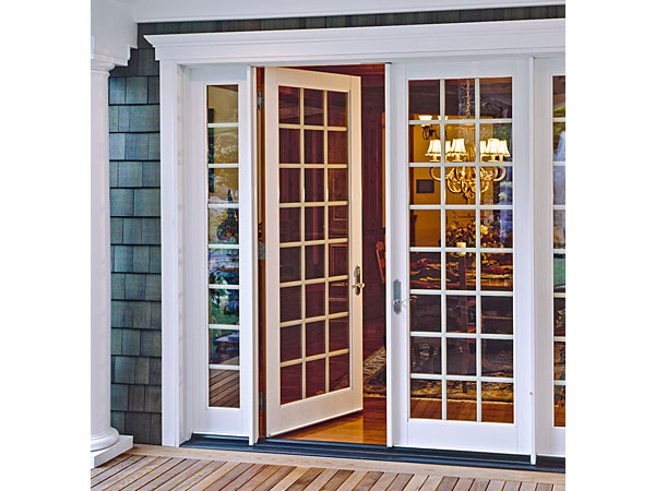Milgard Ultra White Fiberglass Hinged Patio Door with Sidelites and SDL Grid - Patio