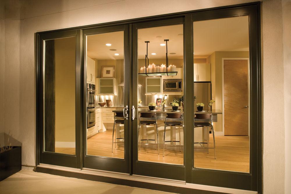 Milgard Ultra Woodclad Oversized Four panel Bi-Parting Gliding Door - Folding