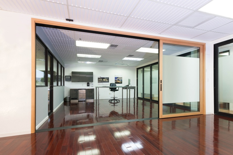 Moving Glass Wall System with Wood Interior - Sliding