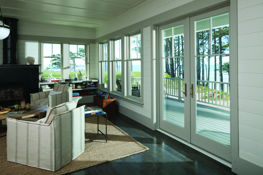 White Andersen A Series 2 Lite French Door with Tall Fractional Grids - Patio
