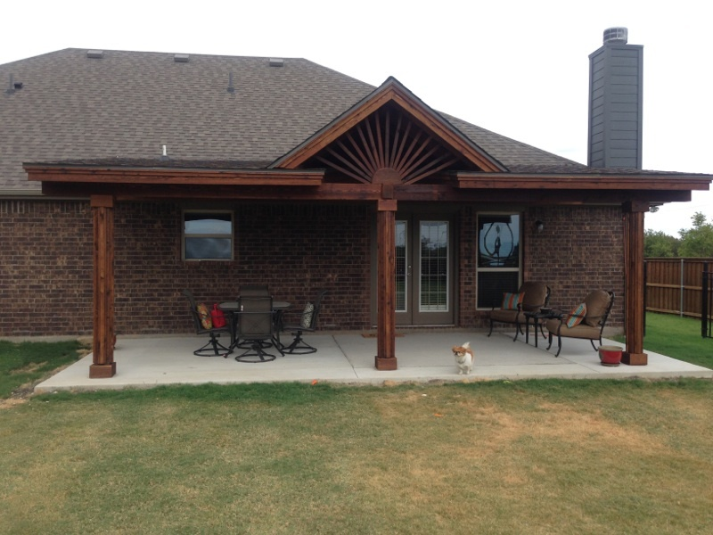 22 Foot By 8 Foot Cedar And Shingles Patio Extention With Three Columns