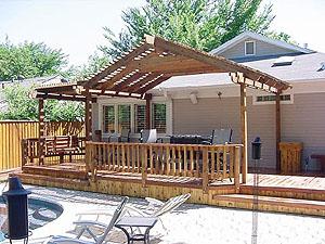Artistic Deck and Arched Cedar Pergola - Deck