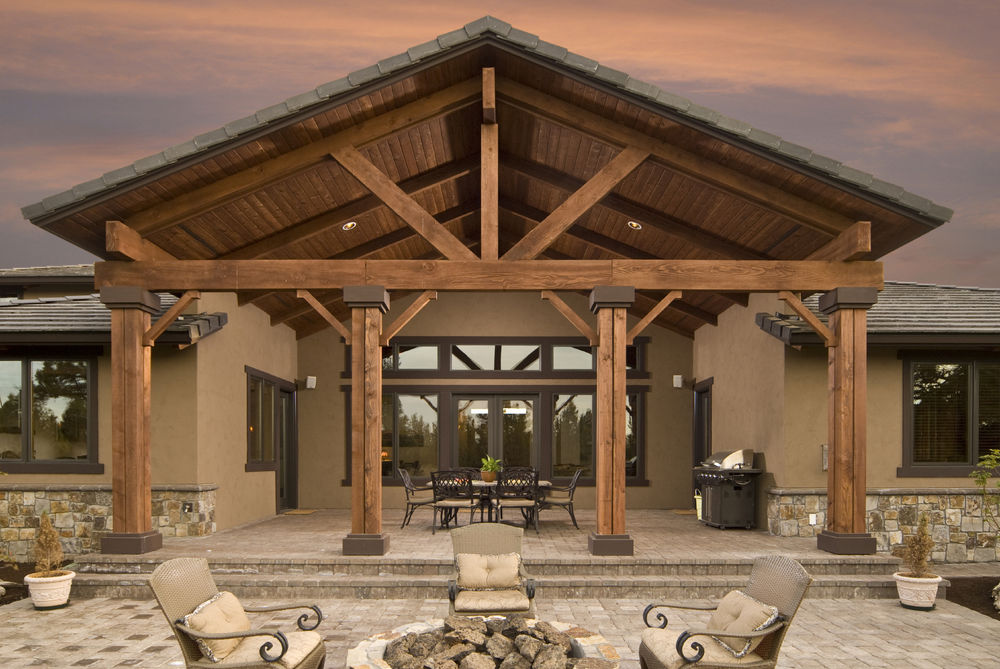 Oversized Patio Cover with Columns Stonework - Patio Covers