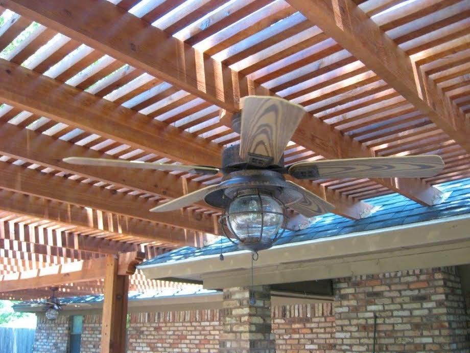 Cedar Pergola with Built-in Ceiling Fan - Pergolas