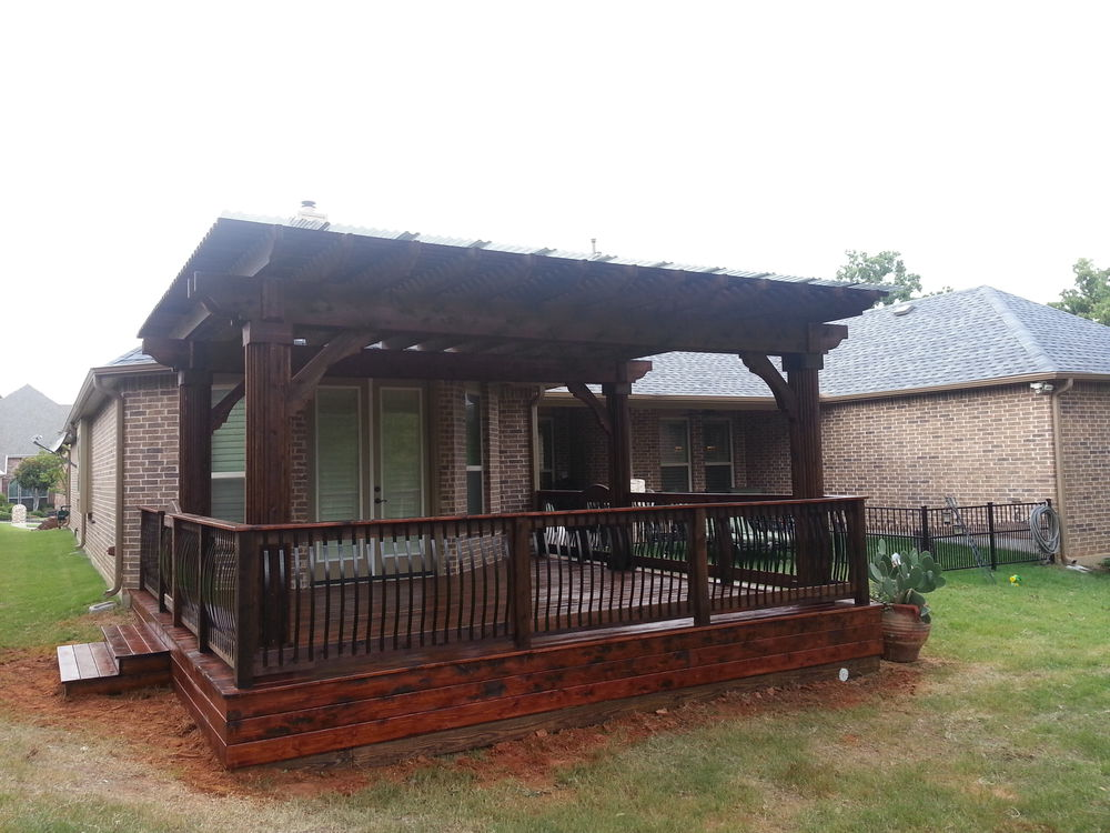 Clear Coated and Stained Smooth Cedar Deck and Oversized Pergola - Pergolas
