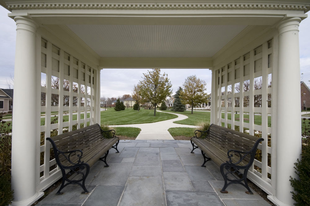 Commercial White Four Column Pavillion with Custon Lattice Work - Patio Covers