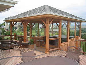Composite Deck and Cedar Freestanding Cover - Patio Covers