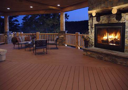 Composite Decking with outdoor Fireplace and Patio Cover - Patio Covers