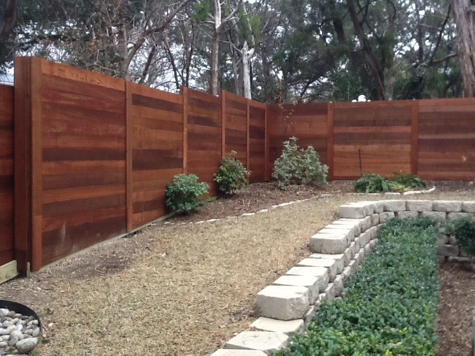 Contemporary Horizontal Board on Board Stained Cedar Fence - Fencing