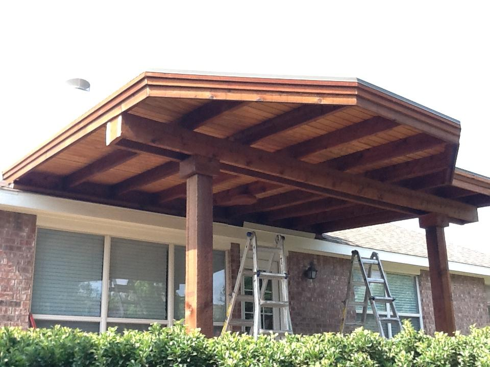 Custom Shaped Cedar Patio Cover with Shingled Roof and Cedar Roof - Patio Covers