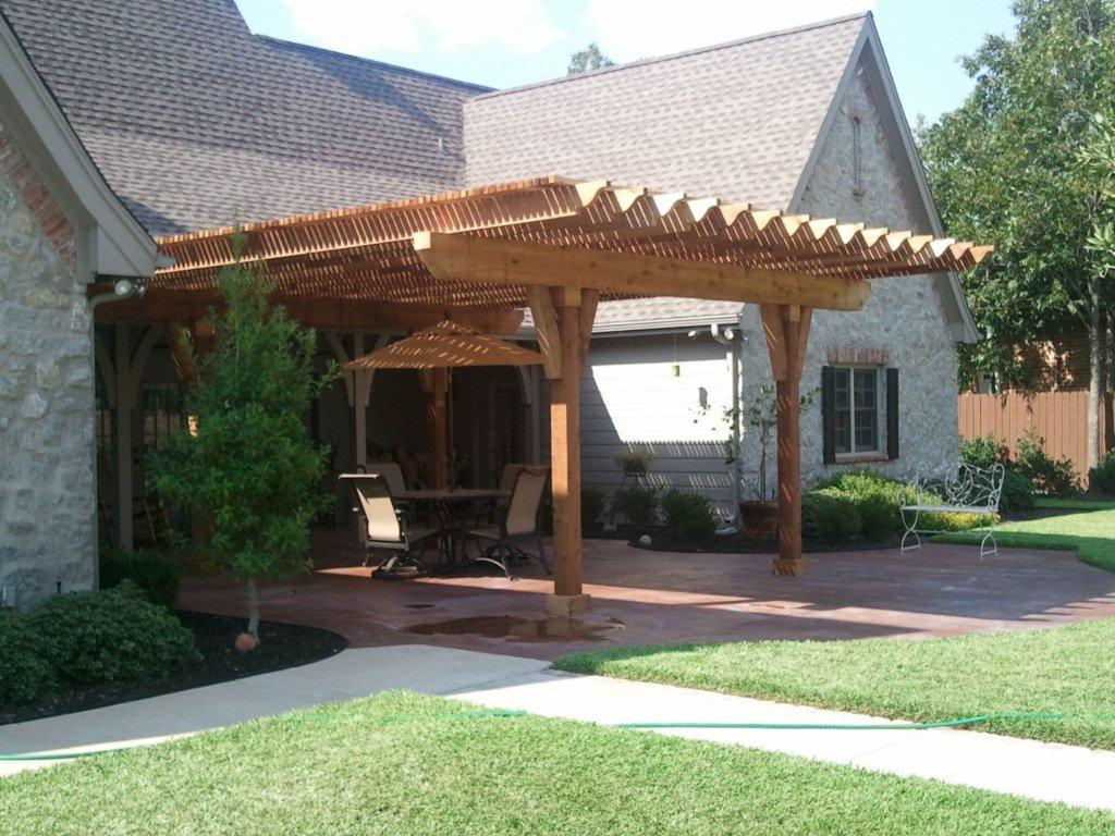 Decorative Cedar Pergola Between Roof Lines - Pergolas