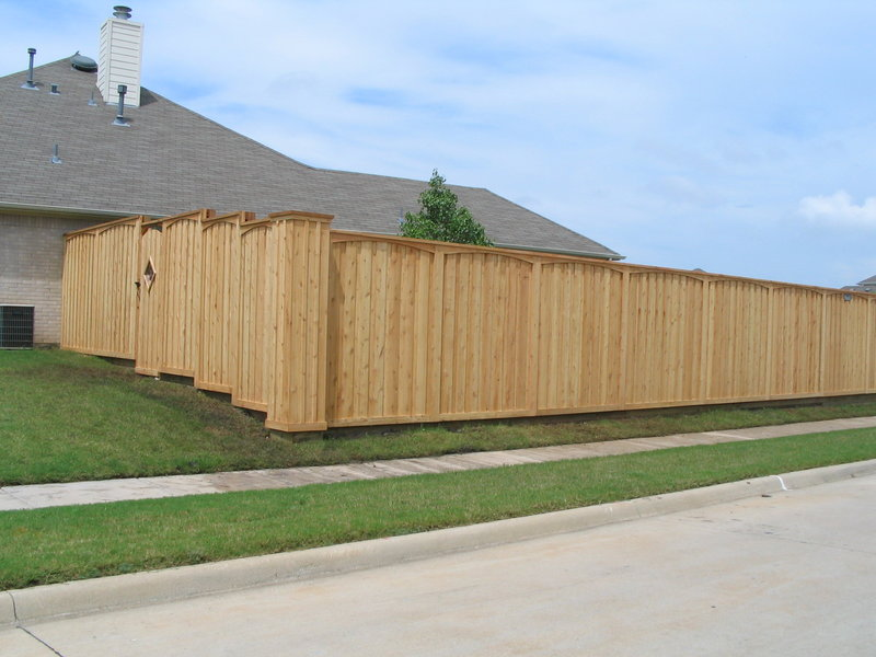 Decorative Sealed Cedar Board with Board Fence with Gate - Fencing