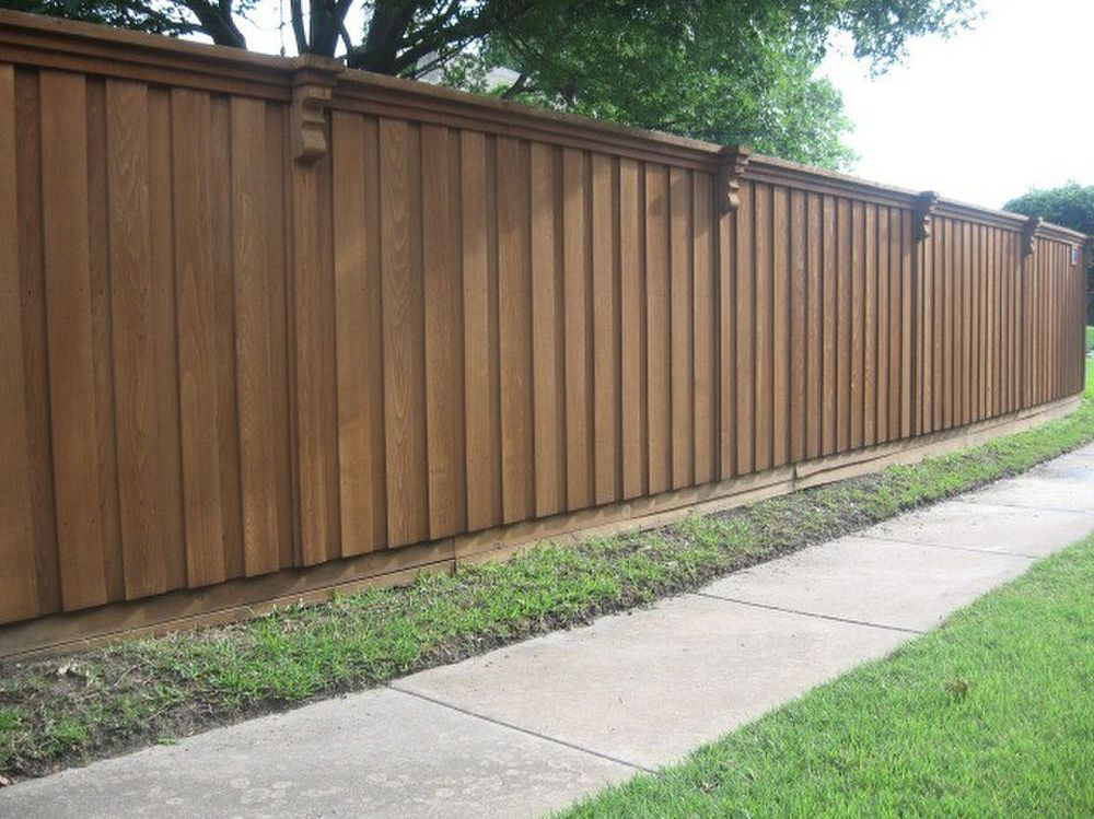 Decorative Stained Board on Board Cedar Fence - Fencing