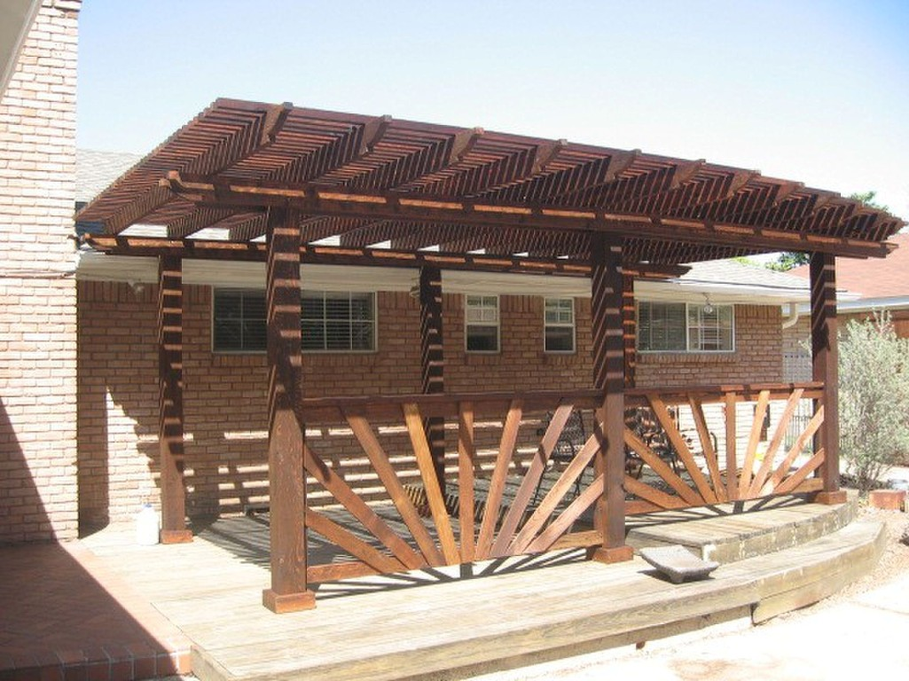 Decorative Stained Cedar Pergola with Fence Accents - Pergolas