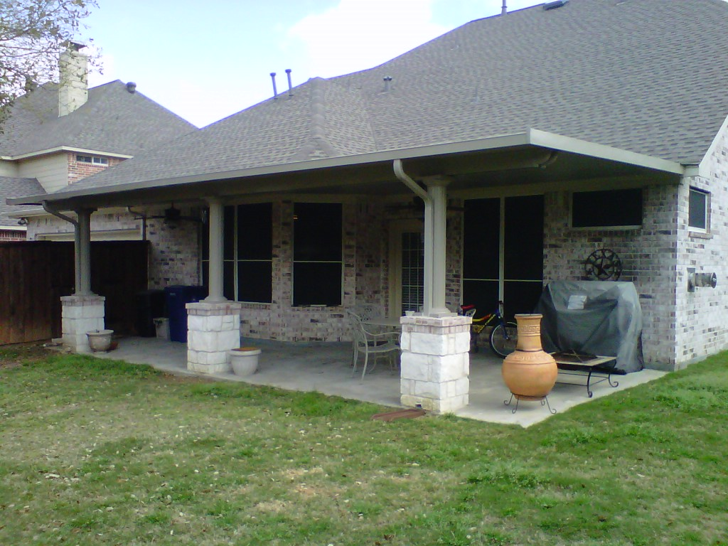 Grey Aluminum Patio Cover with Stone Columns - Patio Covers