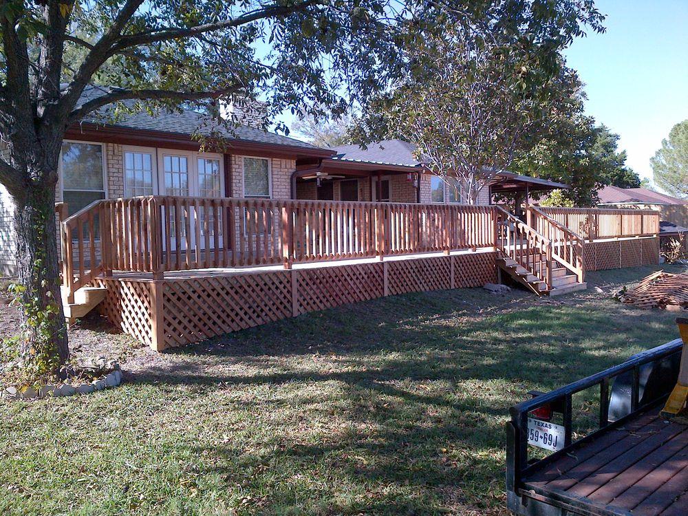 Oversized Cedar Deck and Railing with Lattice Work - Decks