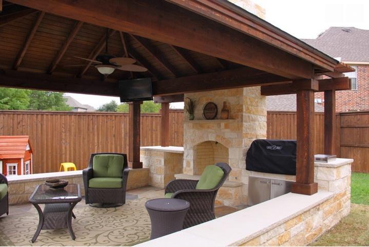 Oversized Custom Outdoor Stone Fireplace - Patio Covers