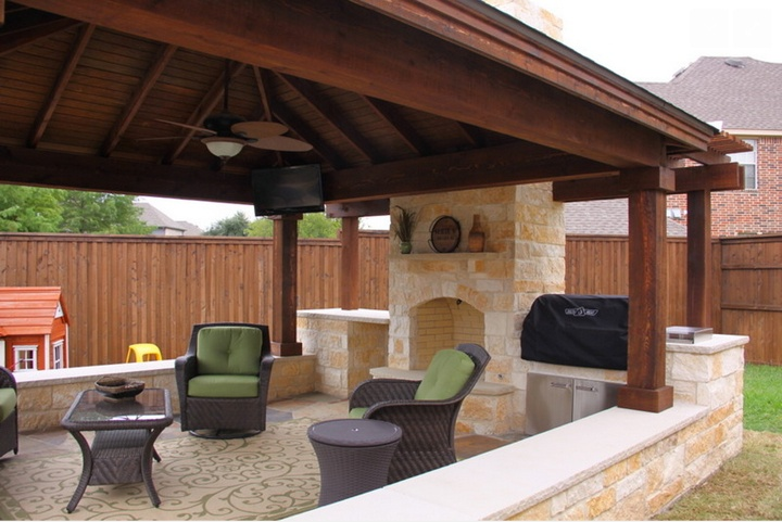 Oversized Custom Outdoor Stone Fireplace - Patio Covers