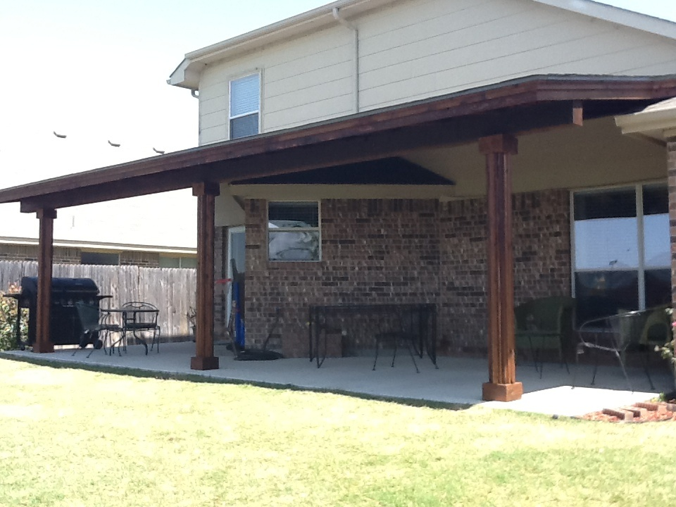 Oversized Stained and Sealed Cedar and Shingled Patio Cover with Columns - Patio Covers