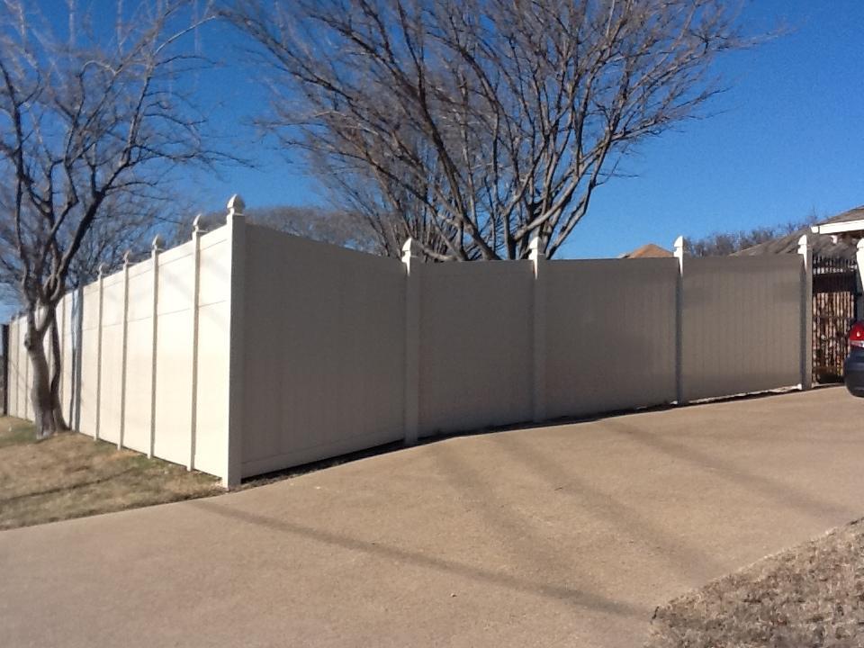 Oversized White Vinyl Fence Panels - Fencing