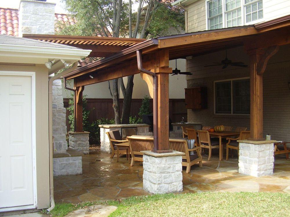 Patio Cover and Pergola with Stone Floor and Stone Columns - Pergolas