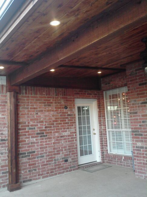 Patio Cover Tied into Existing Roof with Cedar- Patio Covers