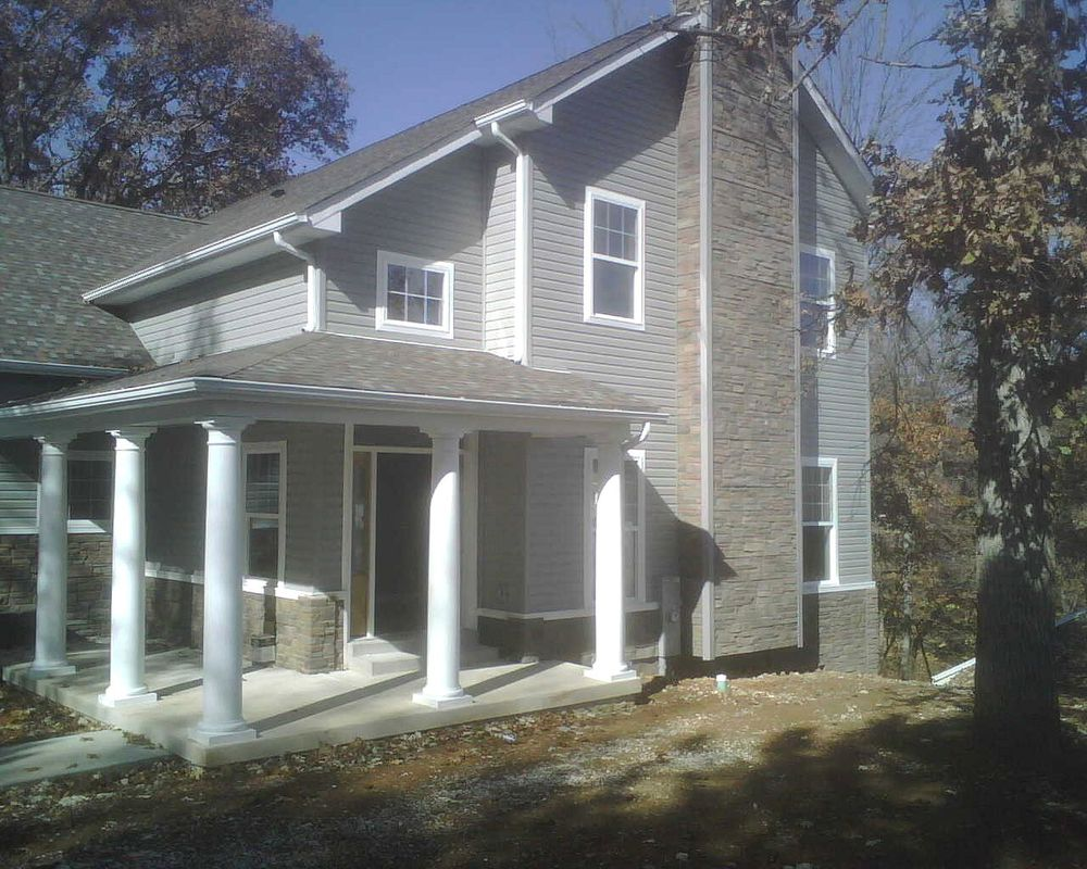 Patio Cover with White Round Columns - Patio Covers