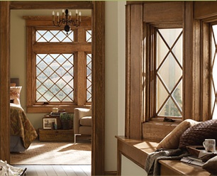 Andersen A Series Woodclad Casement Windows With Diamond Grid Pattern - Casement