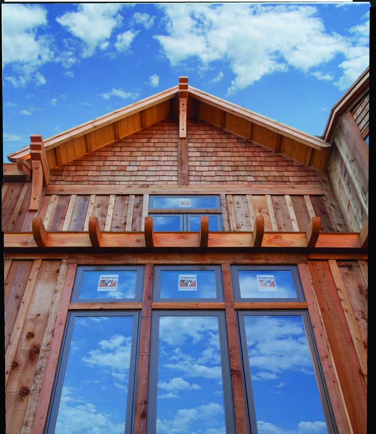 Andersen 100 Series Fibrex Picture Windows with Bronze Exterior and White Interior - Composite