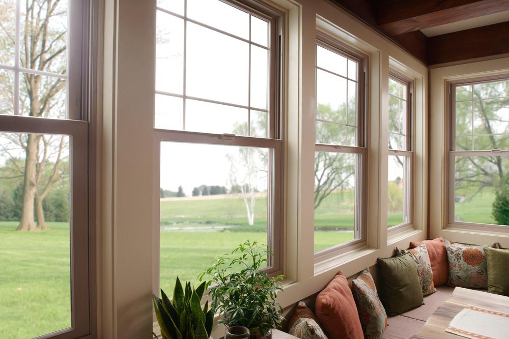 Milgard Tan Tuscany Dingle Hung Windows with Prairie Grids  - Vinyl