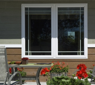 White Vinyl Casement Windows Prairie Grids - Casement